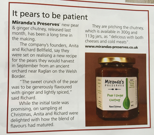 Fine Food Digest Article on new Pear & Ginger Chutney